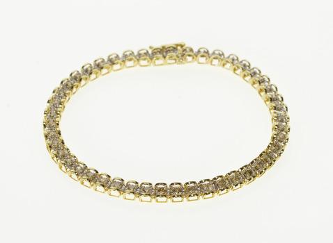 "10K 2.67 Ctw Diamond Inset Curved Link Tennis Yellow Gold Bracelet 7.25"""