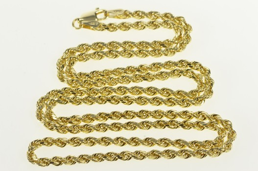 """10K 3.0mm Thick Rope Twist Classic Link Chain Yellow Gold Necklace 24"""""""