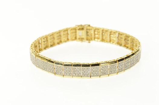 "10K 3.14 Ctw Pave Diamond Encrusted Squared Yellow Gold Bracelet 7.5"""