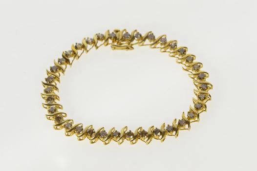 "10K 3.50 Ctw Light Brown Diamond Wavy Link Tennis Yellow Gold Bracelet 7"""