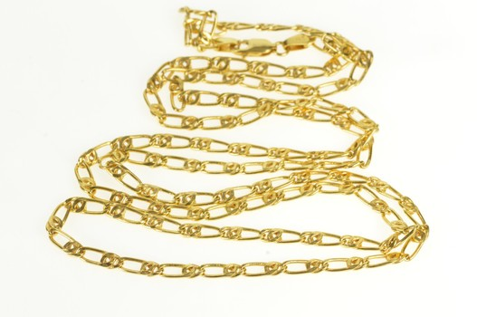 """10K 3.5mm Thick Link Fancy Chain Link Yellow Gold Necklace 30"""""""