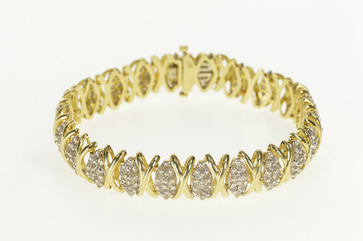"10K 4.00 Ctw Diamond Cluster X Link Tennis Yellow Gold Bracelet 7"""