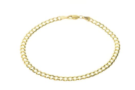 "10K 4.6mm Curb Chain Classic Link Men's Yellow Gold Bracelet 8.5"""