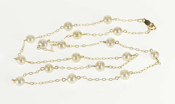 """10K 5.2mm Pearl Beaded Cable Link Chain Yellow Gold Necklace 17.25"""""""