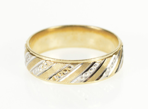 10K 6.0mm Two Tone Retro Pattern Wedding Band Yellow Gold Ring, Size 10
