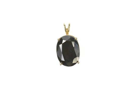 10K 9.00 Ct Oval Natural Dark Blue Green Sapphire Yellow Gold Pendant