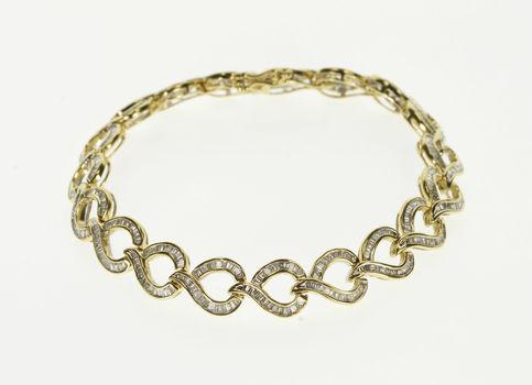 """10K 9.25 Ctw Baguette Diamond Channel Teardrop Link Yellow Gold Bracelet 7.75"""""""