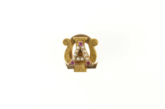 10K Alpha Psi Omega Seed Pearl Syn Ruby Lapel Yellow Gold Pin/Brooch