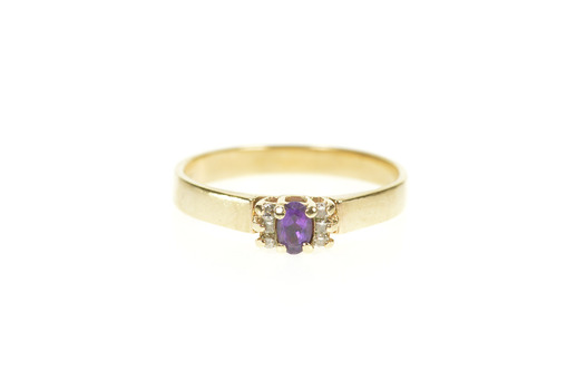 10K Amethyst Diamond Accent Classic Statement Yellow Gold Ring, Size 9.5