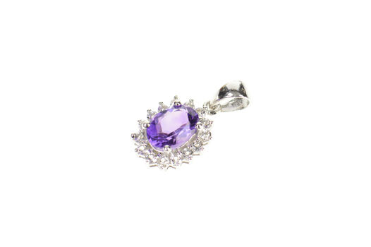 10K Amethyst Oval Cubic Zirconia Halo Simple White Gold Pendant
