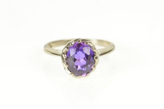 10K Amethyst Retro Swirl Bezel Statement White Gold Ring, Size 5.5
