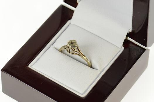 10K Art Deco 1.5mm Filigree Engagement Setting White Gold Ring, Size 5.25