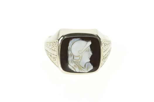 10K Art Deco Black Onyx Cameo Men's Etched White Gold Ring, Size 11