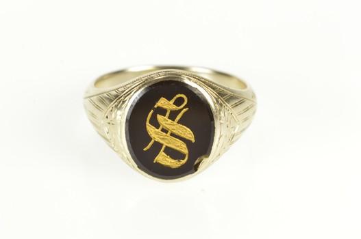 10K Art Deco Black Onyx S Monogram Letter Men's White Gold Ring, Size 10.75
