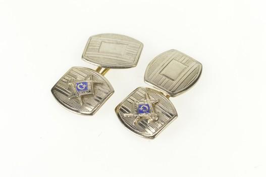10K Art Deco Masonic Enamel Pinstriped Men's White Gold Cuff Links