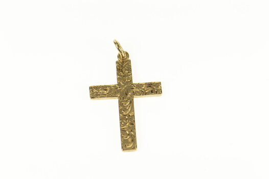 10K Art Deco Ornate Etched Cross Christian Yellow Gold Charm/Pendant