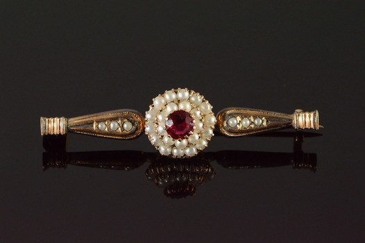 10K Art Deco Red Glass 2mm Seed Pearl Bar Yellow Gold Pin/Brooch