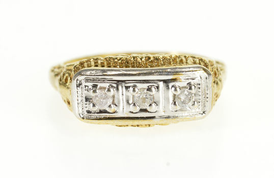 10K Art Deco Two Tone Floral Filigree Diamond Inset Yellow Gold Ring, Size 6