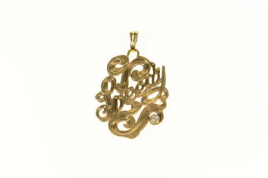 10K Art Nouveau Speedy Diamond Accent Etched Yellow Gold Pendant