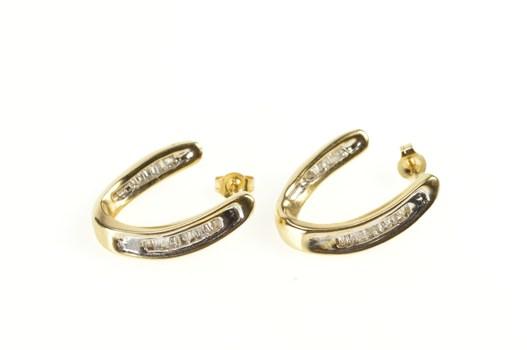10K Baguette Diamond Curved Semi Hoop Yellow Gold Earrings