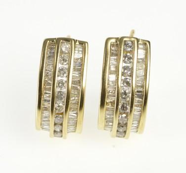 10K Baguette & Round Diamond Channel Semi Hoop Yellow Gold Earrings