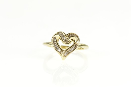10K Baguette Wavy Diamond Heart Cocktail Yellow Gold Ring, Size 5