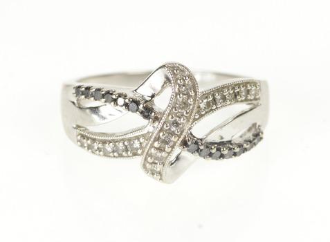 10K Black and White Diamond Criss Cross Valentine White Gold Ring, Size 6.75