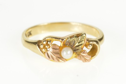 10K Black Hills Leaf Pearl Accent Swirl Yellow Gold Ring, Size 5