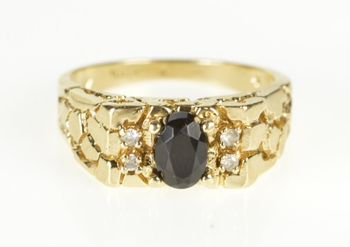 10K Black Onyx CZ Men's Textured Nugget Yellow Gold Ring, Size 8.25