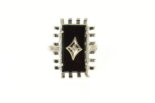 10K Black Onyx Diamond Accent Retro Basket Trim White Gold Ring, Size 5.25