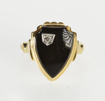 10K Black Onyx Diamond Overlay Shield Signet Yellow Gold Ring, Size 5.75