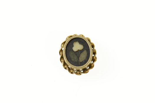 10K Black Onyx Floral Inlay Victorian Button Cover Yellow Gold