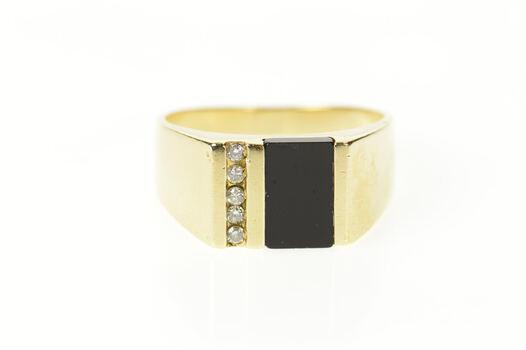 10K Black Onyx Inlay Diamond Squared Statement Yellow Gold Ring, Size 9