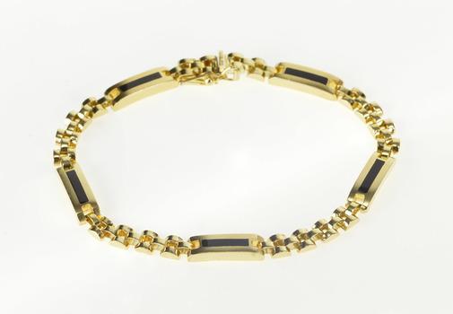 "10K Black Onyx Inlay Men's Fashion Chain Yellow Gold Bracelet 8"""