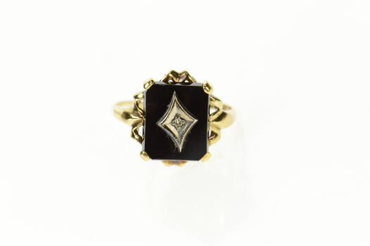 10K Black Onyx Squared Diamond Accent Ornate Yellow Gold Ring, Size 7.75
