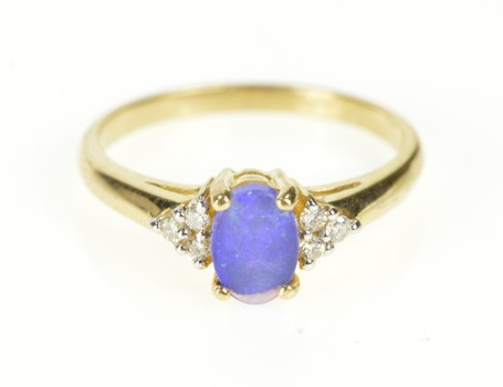 10K Black Opal Doublet Diamond Cluster Yellow Gold Ring, Size 7