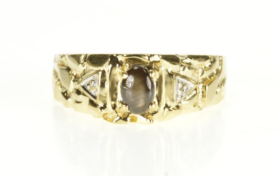 10K Black Star Sapphire Diamond Texture Nugget Yellow Gold Ring, Size 9.25