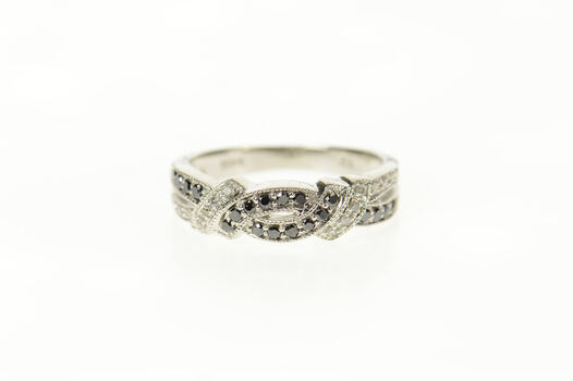 10K Black & White Diamond Twist Criss Cross Band White Gold Ring, Size 5.5