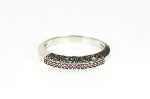 10K Blue & Purple Diamond Statement Band White Gold Ring, Size 9