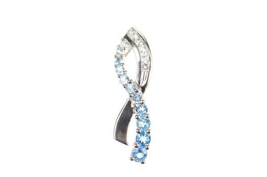 10K Blue Topaz Cubic Zirconia Criss Cross Wavy White Gold Pendant