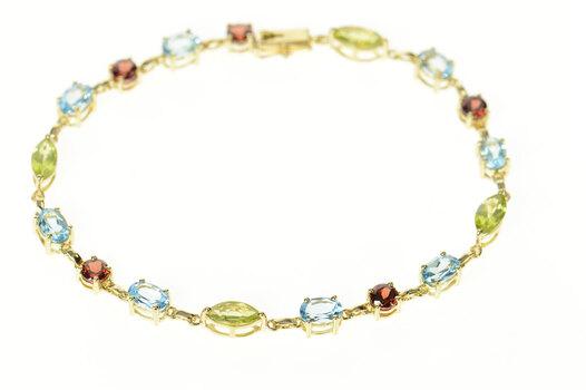 "10K Blue Topaz Garnet Peridot Statement Chain Yellow Gold Bracelet 7.5"""