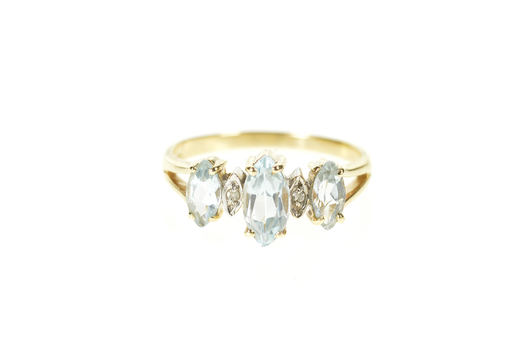 10K Blue Topaz Marquise Diamond Accent Yellow Gold Ring, Size 6