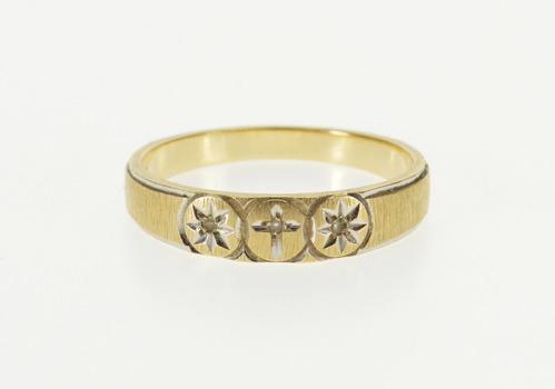 10K Brushed Finish Diamond Inset Cross Burst Design Yellow Gold Ring, Size 7