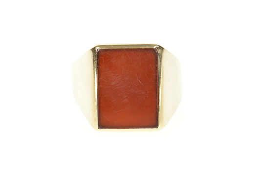 10K Carnelian Squared Men's Inlay Statement Yellow Gold Ring, Size 11.75