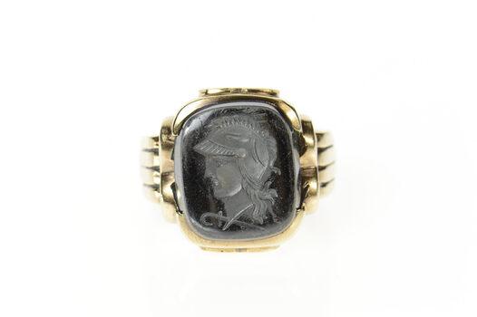 10K Carved Hematite Intaglio Soldier Men's Yellow Gold Ring, Size 9