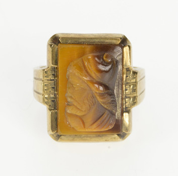 10K Carved Ornate Tiger's Eye Intaglio Men's Yellow Gold Ring, Size 10.25