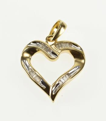 10K Channel Inset Baguette Diamond Wavy Heart Yellow Gold Pendant