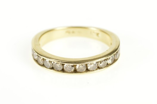 10K Channel Inset Classic Diamond Wedding Band Yellow Gold Ring, Size 7