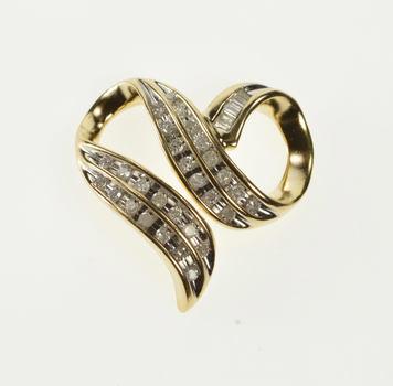 10K Channel Inset Diamond Wavy Curvy Heart Yellow Gold Charm/Pendant