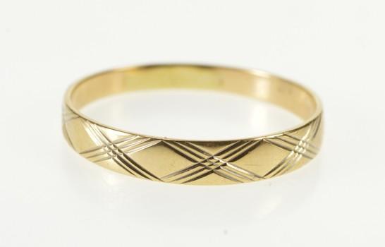 10K Checkered Plaid Pattern Men's Wedding Band Yellow Gold Ring, Size 11